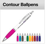 Click here to view our range of printed promotional click action contour pens with white or silver barrel printed 1 or full colour A&A Marketing